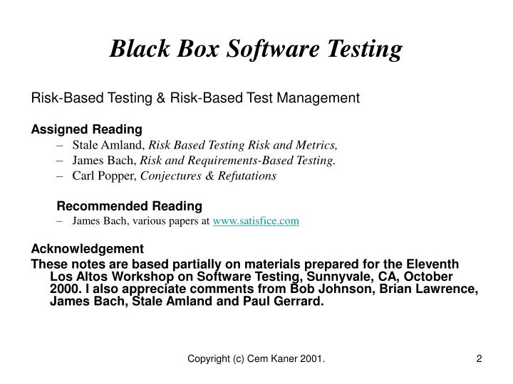 Black box software testing