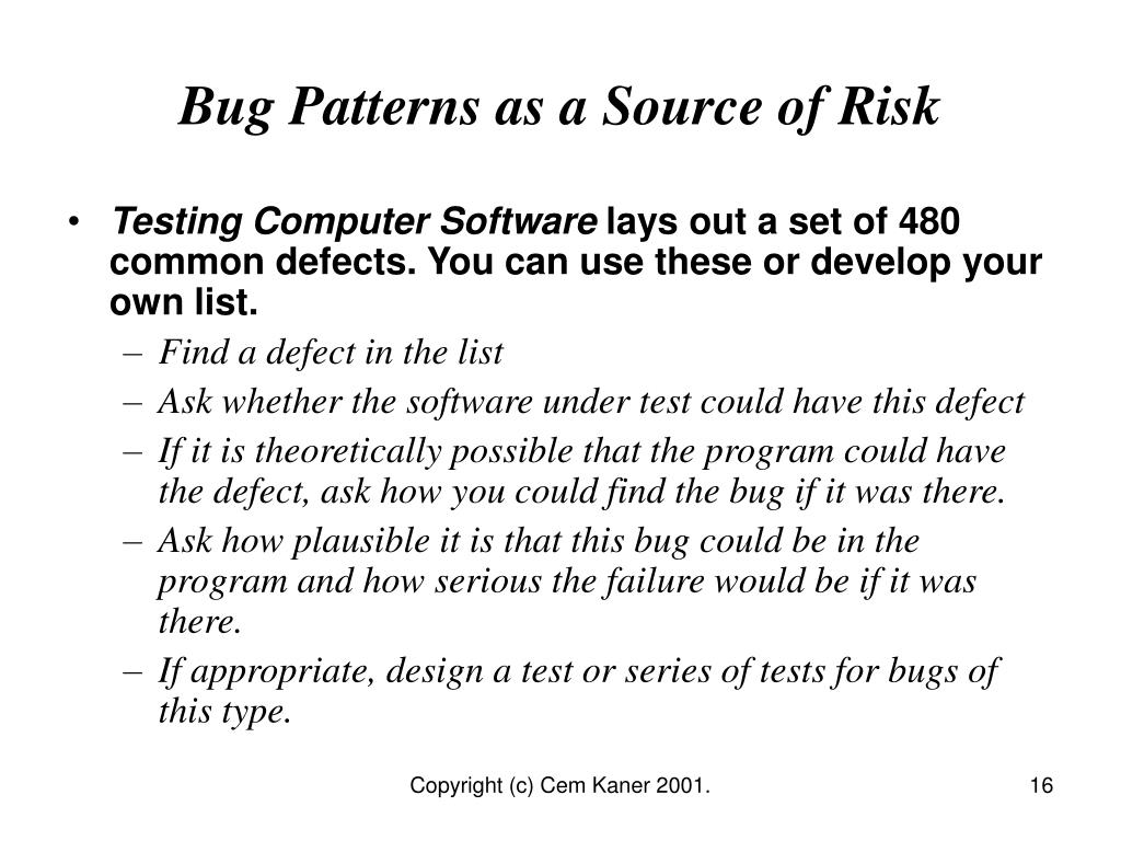Bug Patterns as a Source of Risk