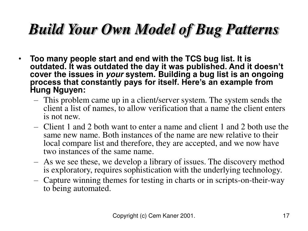 Build Your Own Model of Bug Patterns