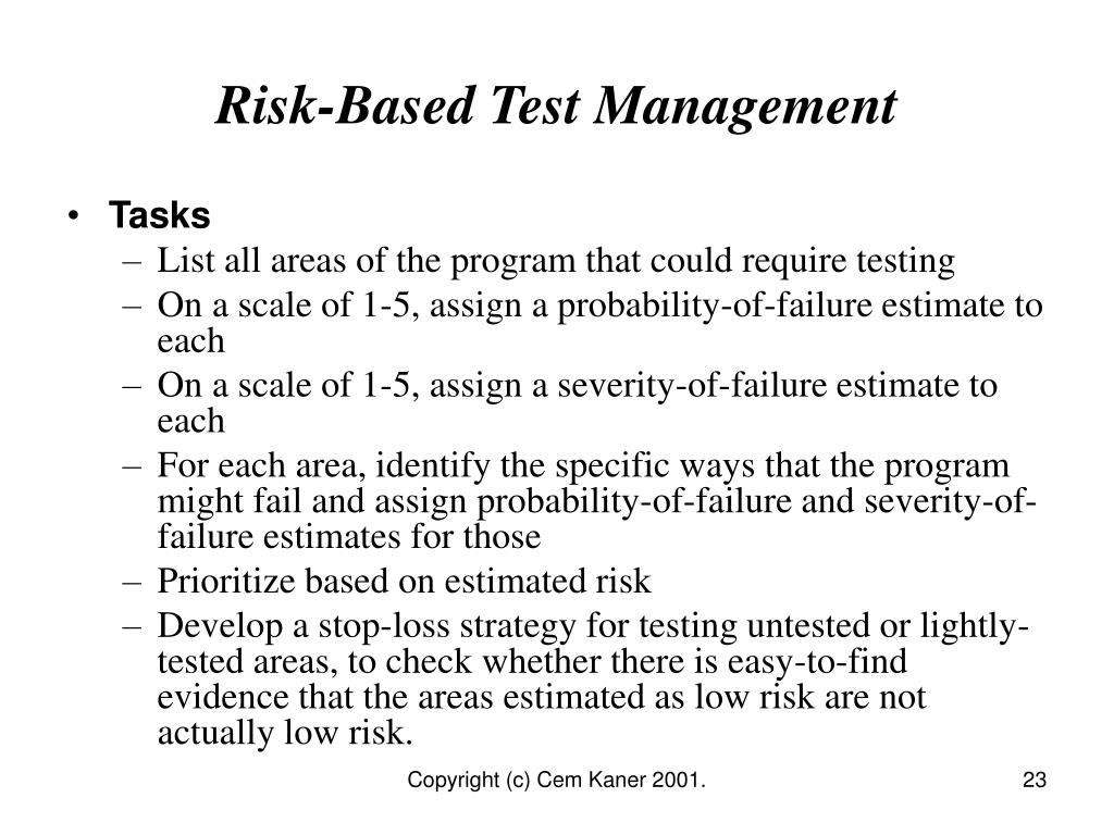 Risk-Based Test Management