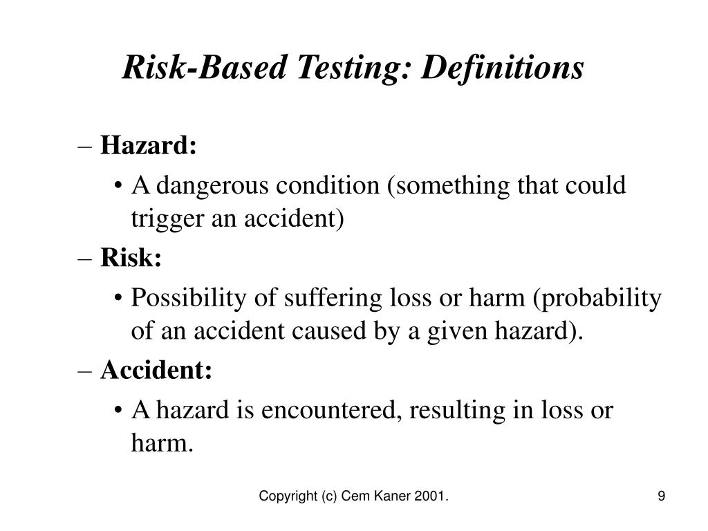Risk-Based Testing: Definitions