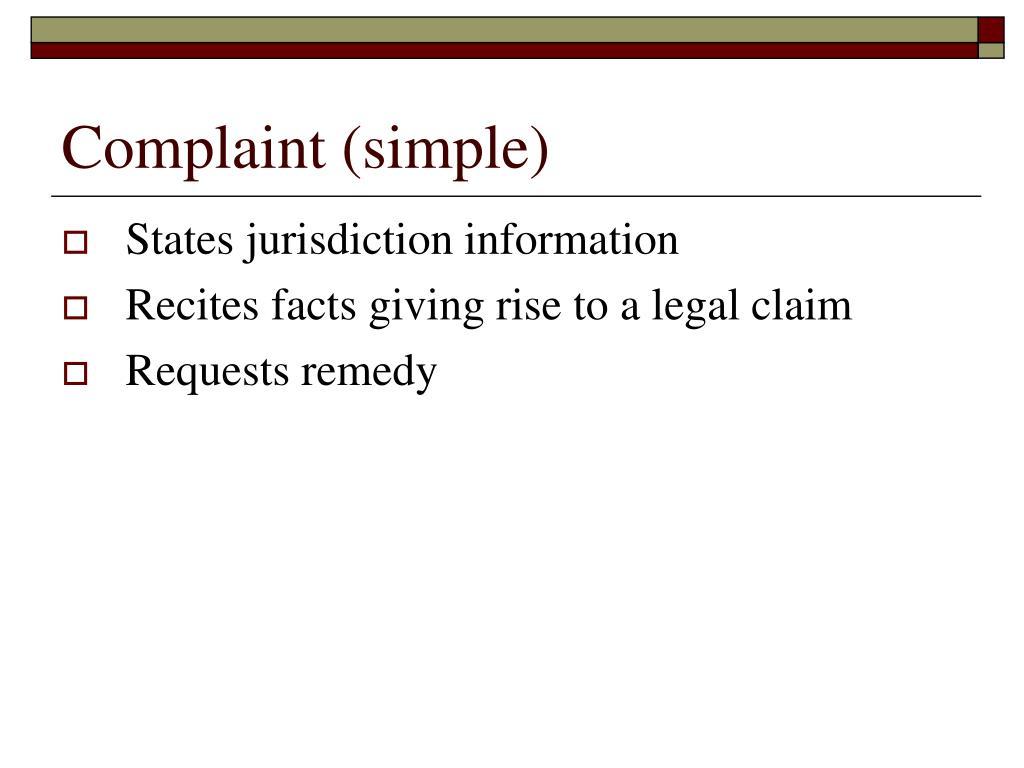 Complaint (simple)