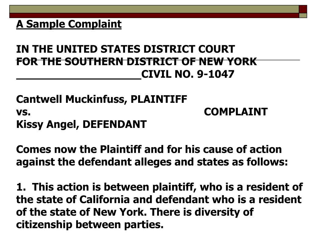A Sample Complaint