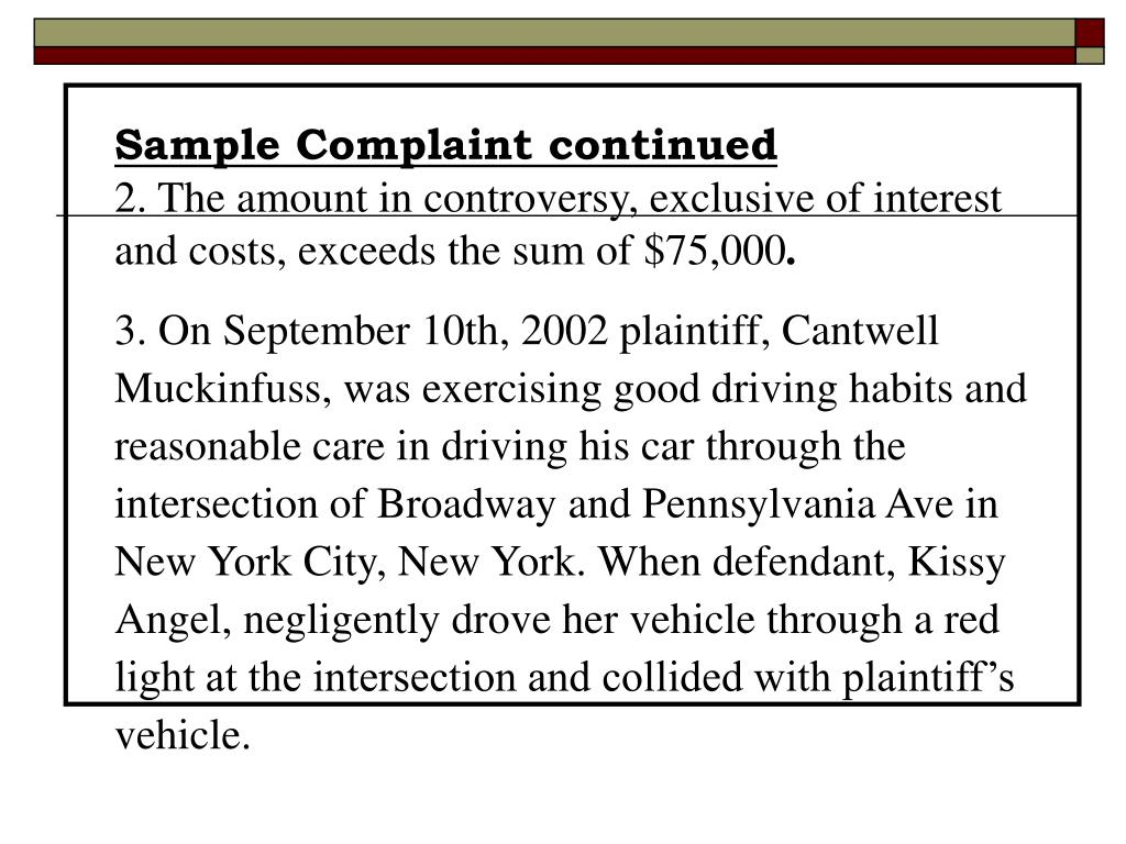 Sample Complaint continued