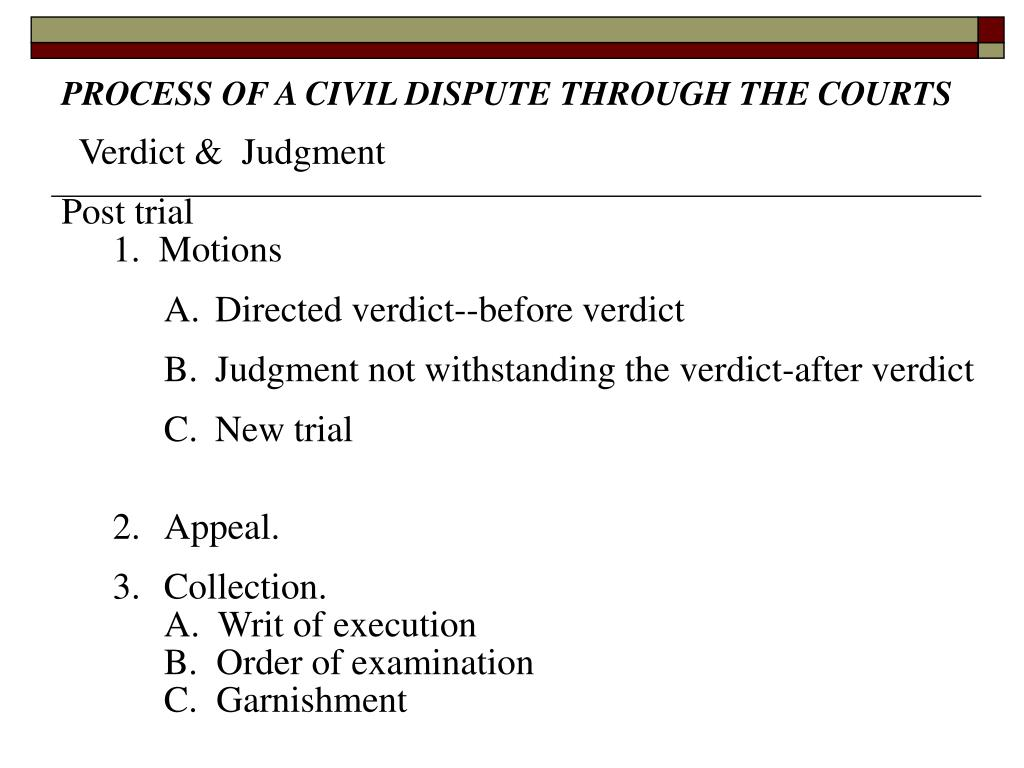 PROCESS OF A CIVIL DISPUTE THROUGH THE COURTS