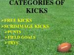 categories of kicks