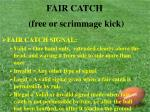 fair catch free or scrimmage kick