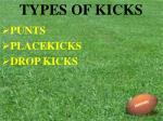 types of kicks