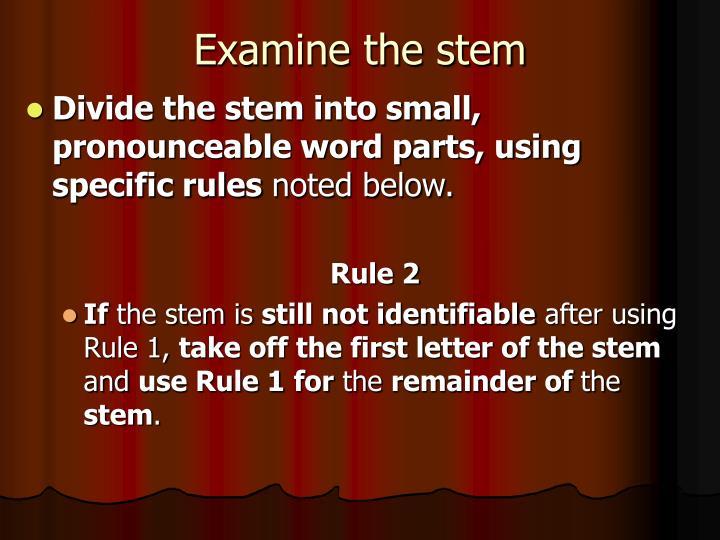 Examine the stem