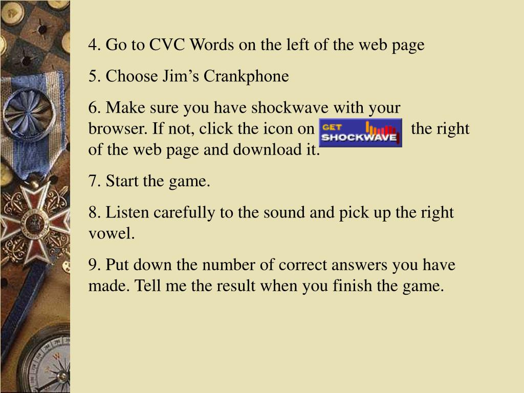 4. Go to CVC Words on the left of the web page