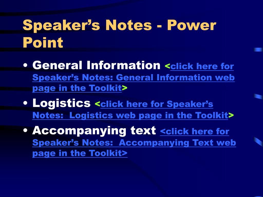 Speaker's Notes - Power Point