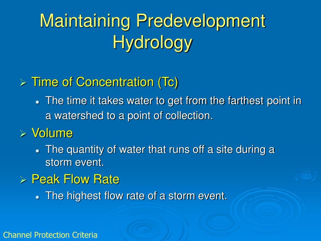 Maintaining Predevelopment Hydrology