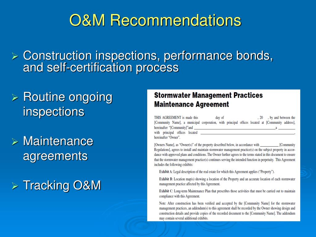 O&M Recommendations