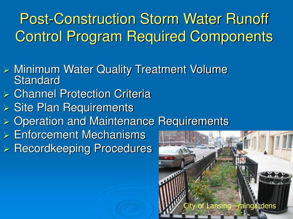 Post-Construction Storm Water Runoff Control Program Required Components