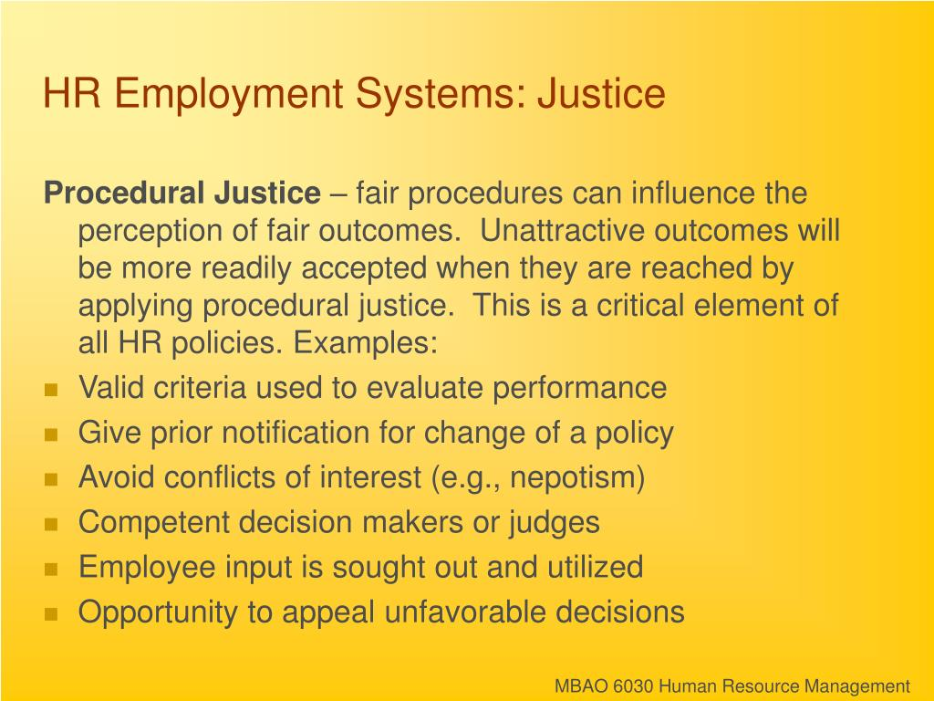 HR Employment Systems: Justice