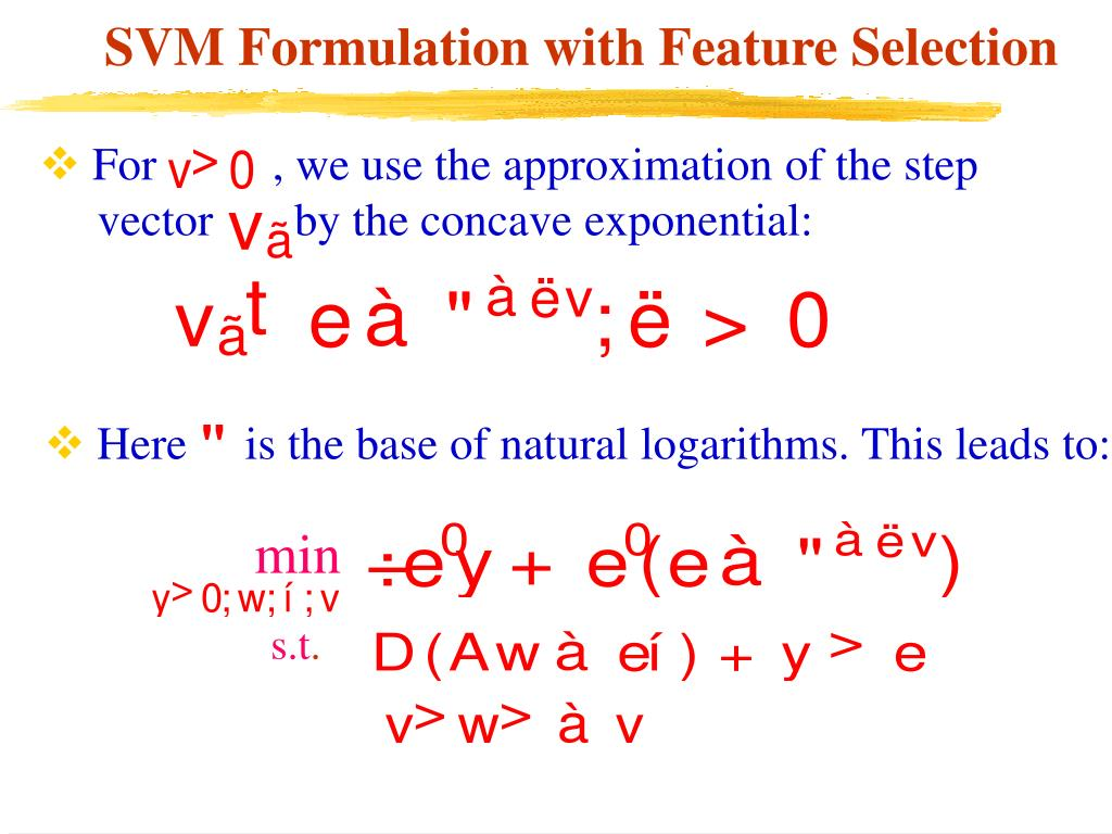 SVM Formulation with Feature Selection