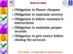 duties of a bank