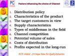 factors influencing the choice of channel
