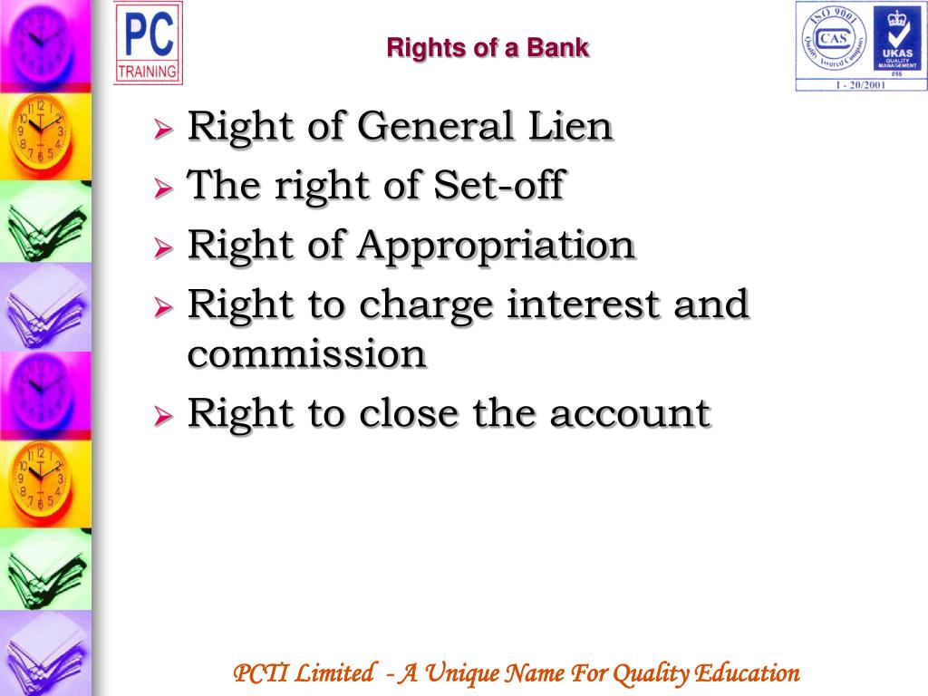 Rights of a Bank