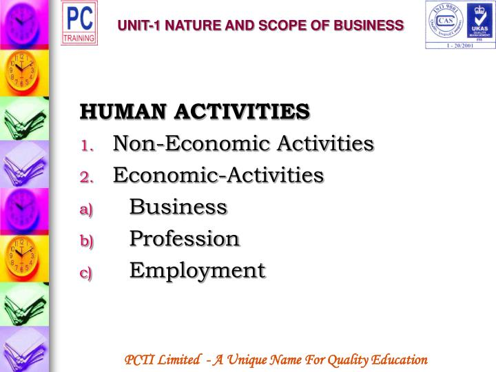 Unit 1 nature and scope of business