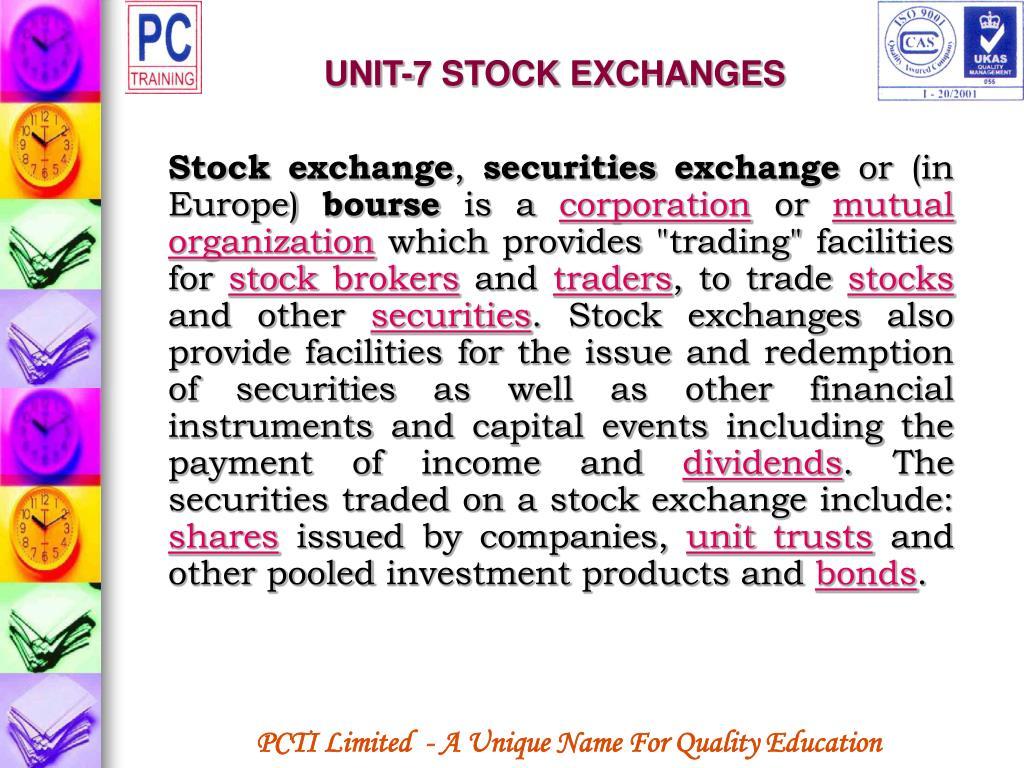 UNIT-7 STOCK EXCHANGES