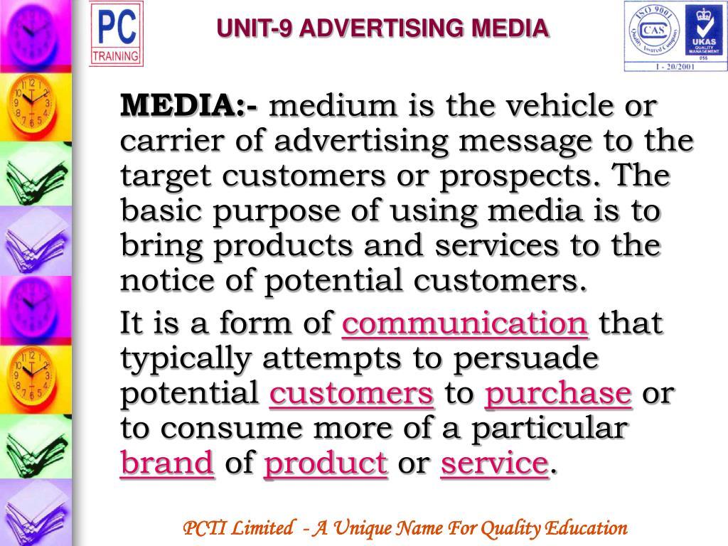 UNIT-9 ADVERTISING MEDIA