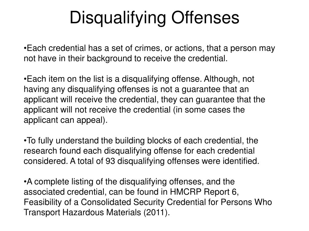 Disqualifying Offenses