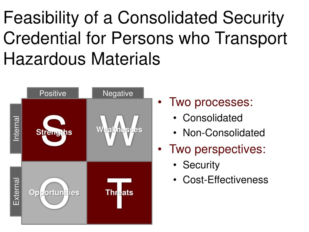 Feasibility of a Consolidated Security Credential for Persons who Transport Hazardous Materials
