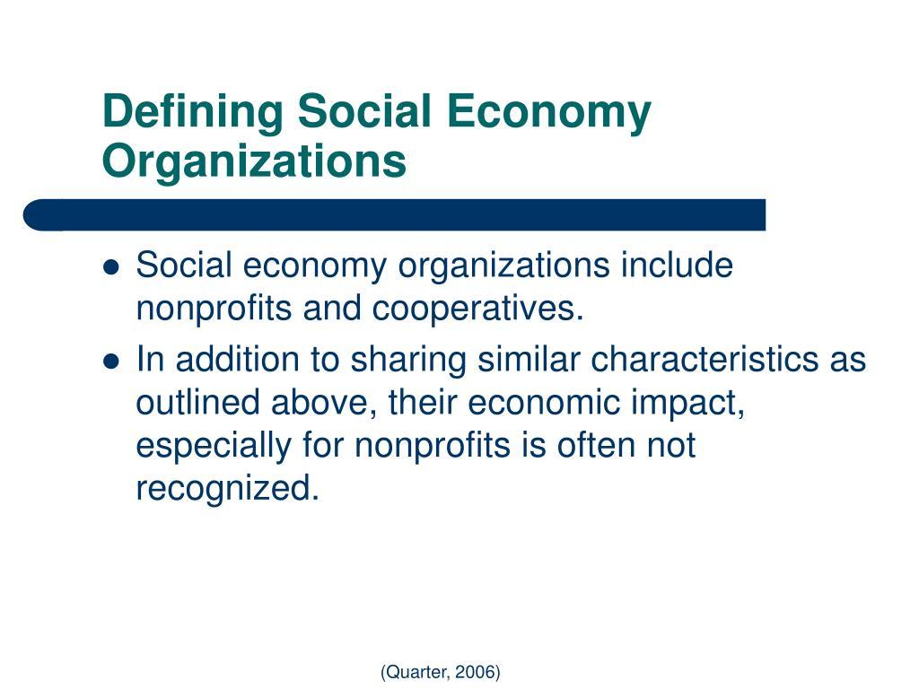 Defining Social Economy Organizations