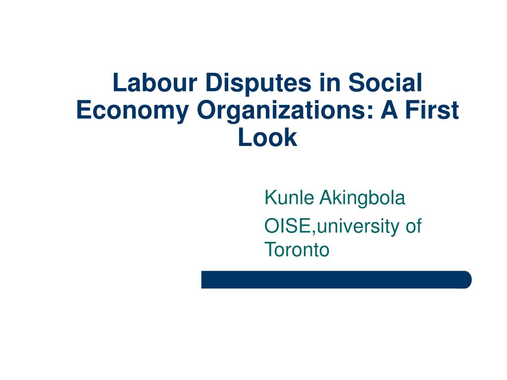 Labour Disputes in Social Economy Organizations: A First Look