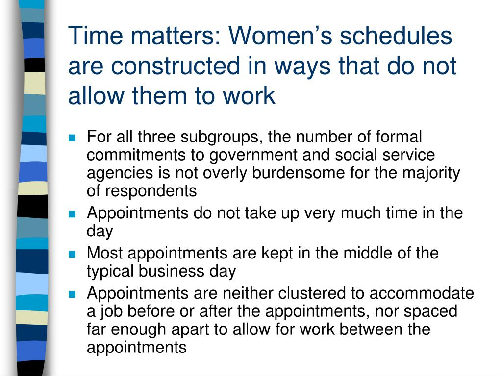 Time matters: Women's schedules are constructed in ways that do not allow them to work
