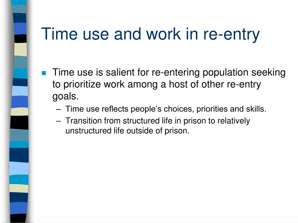 Time use and work in re-entry