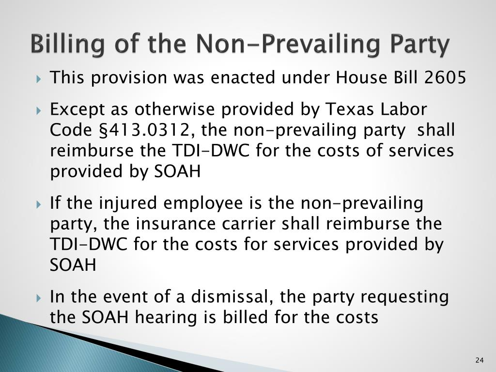 Billing of the Non-Prevailing Party