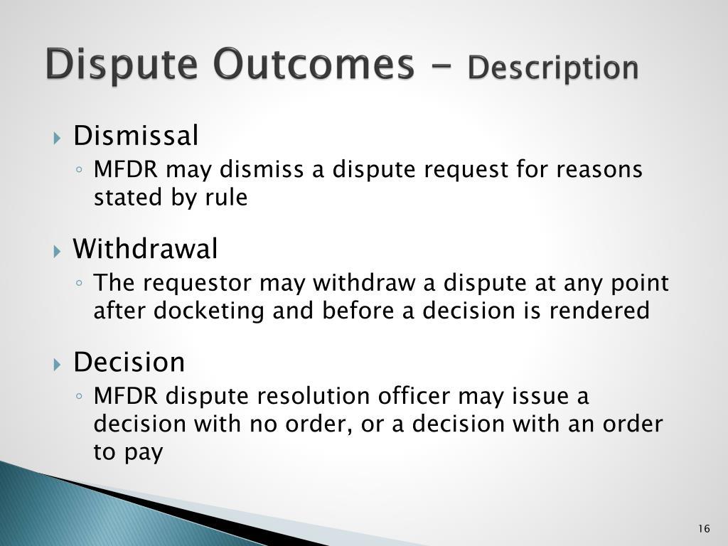 Dispute Outcomes -
