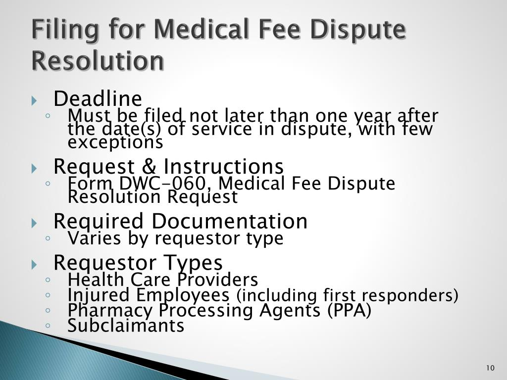 Filing for Medical Fee Dispute Resolution