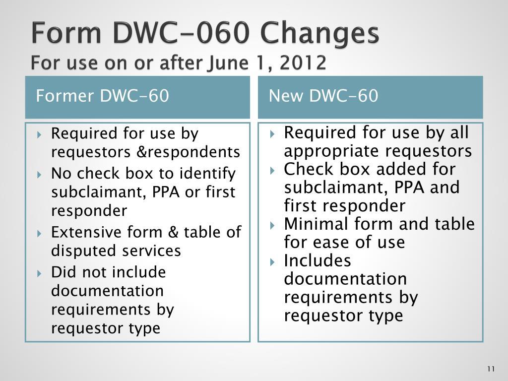 Form DWC-060 Changes