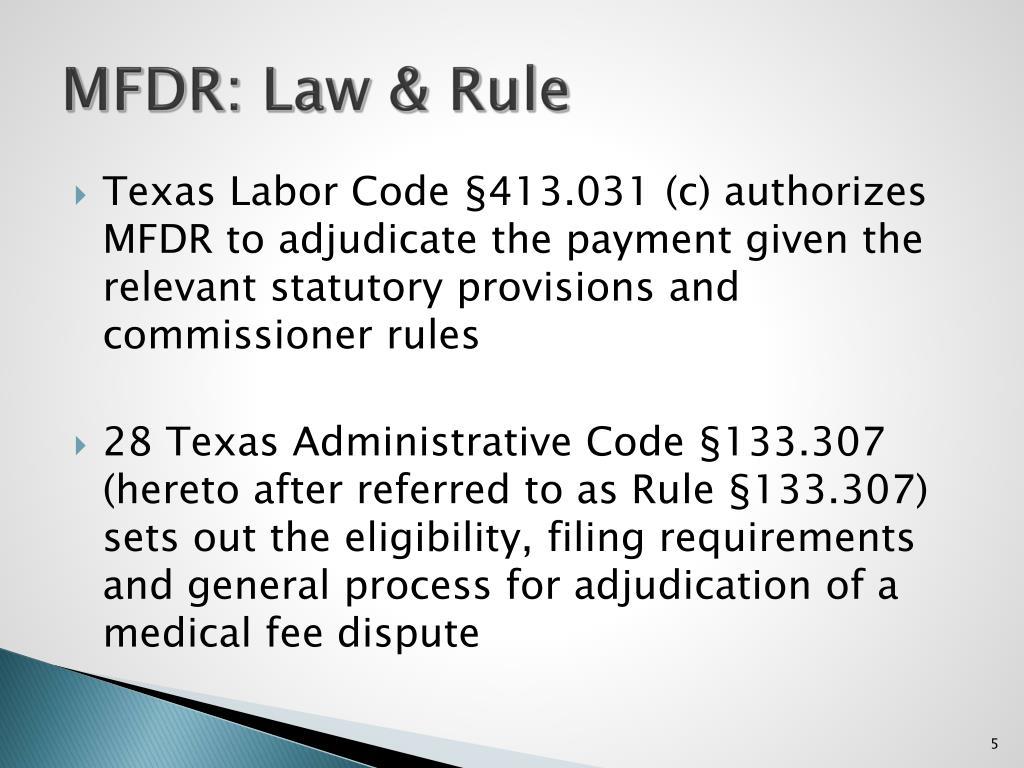 MFDR: Law & Rule