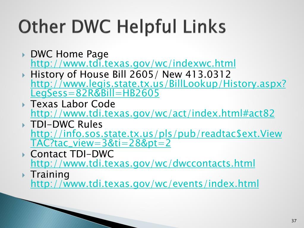 Other DWC Helpful Links