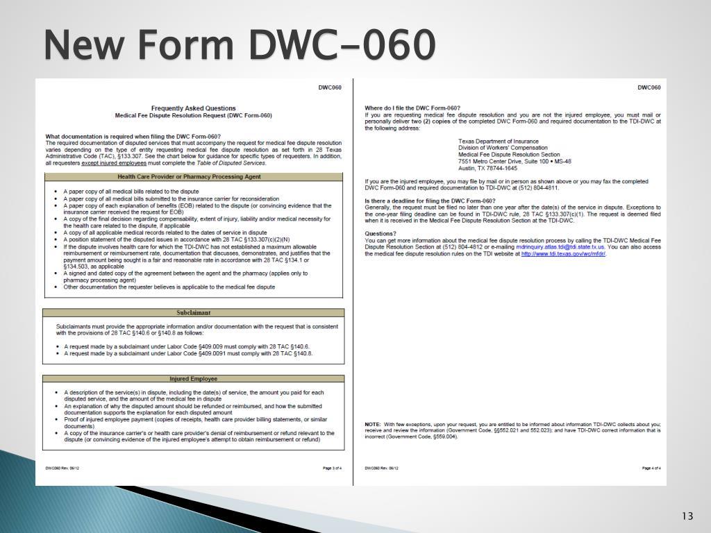 New Form DWC-060