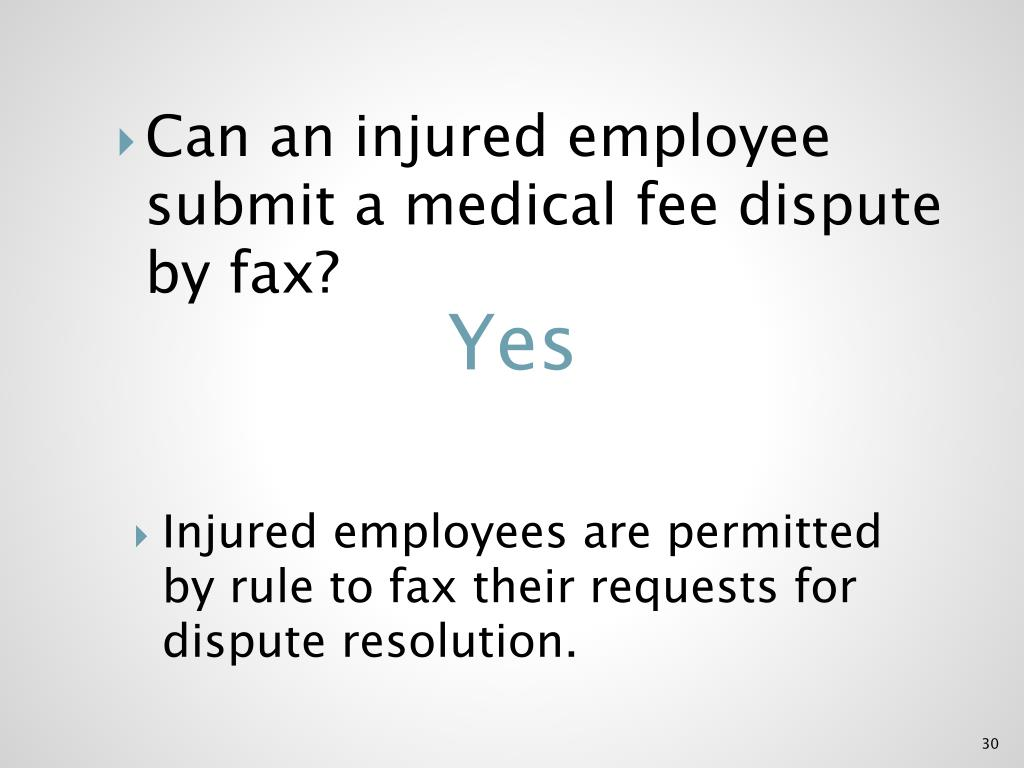 Can an injured employee submit a medical fee dispute by fax?