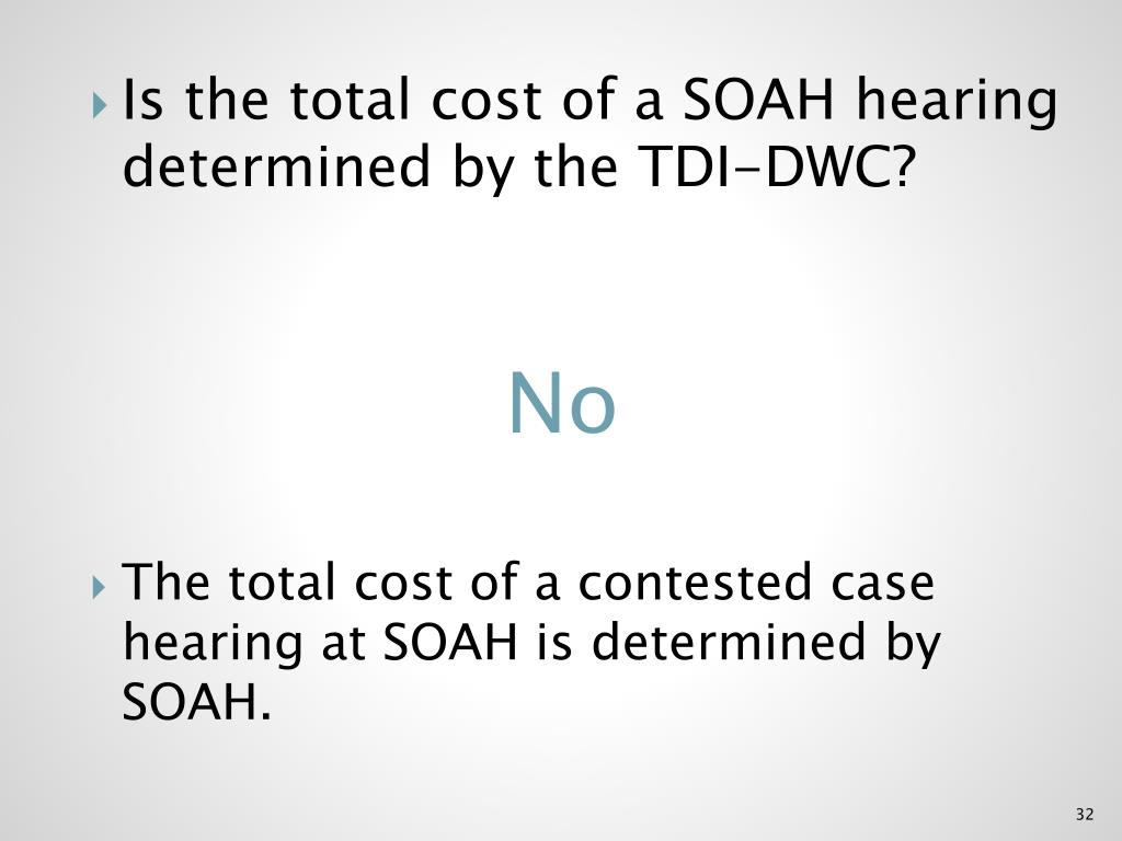 Is the total cost of a SOAH hearing determined by the TDI-DWC?