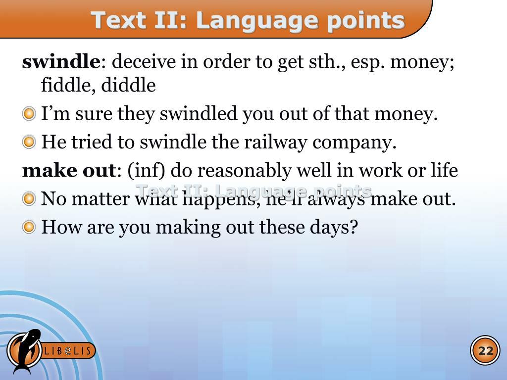 Text II: Language points
