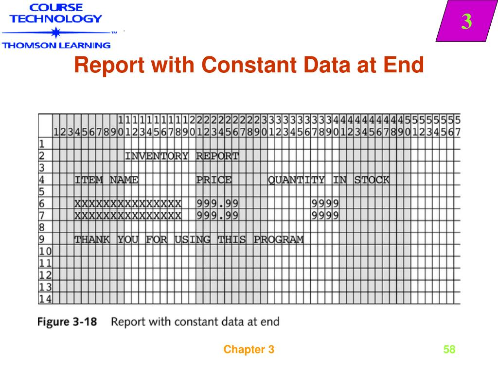 Report with Constant Data at End