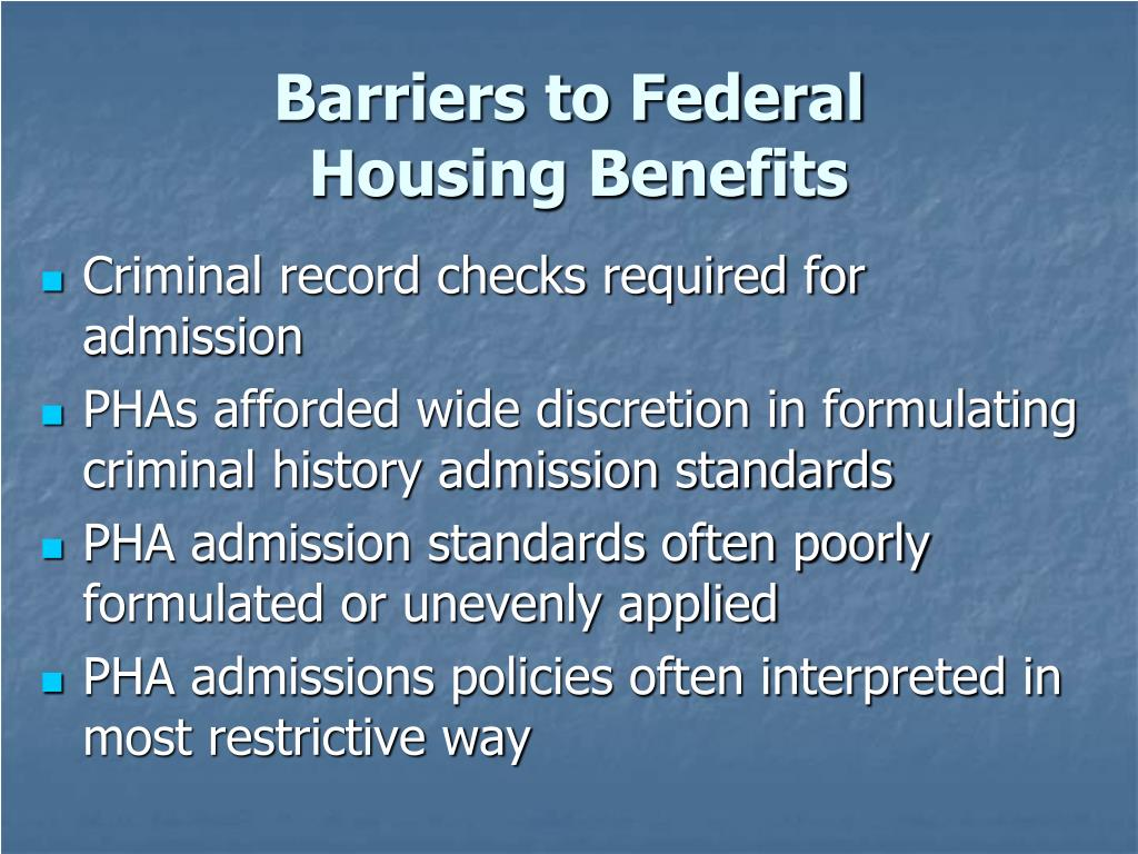 Barriers to Federal