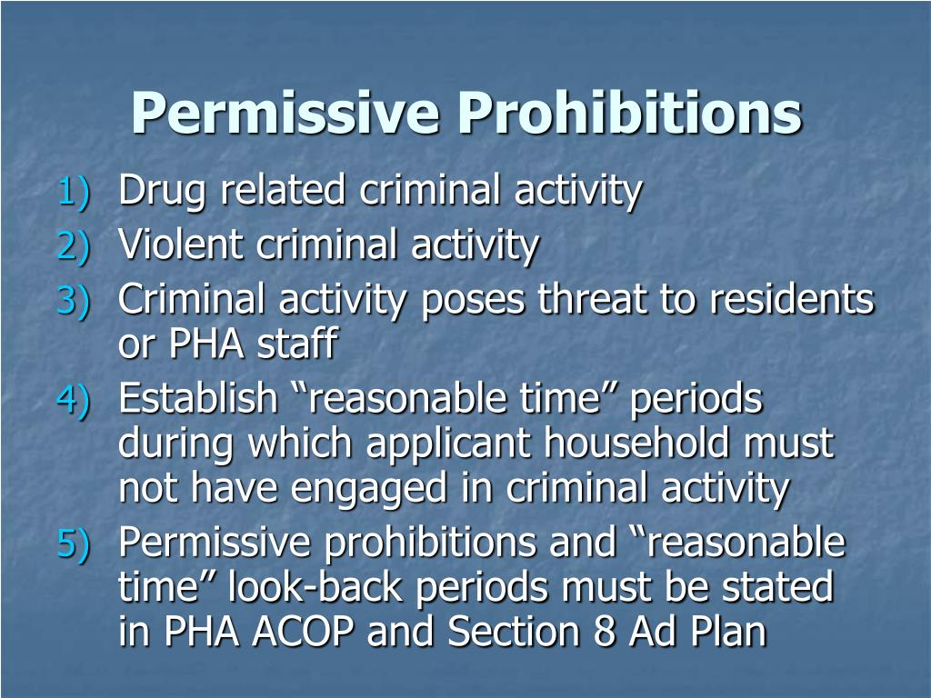 Permissive Prohibitions