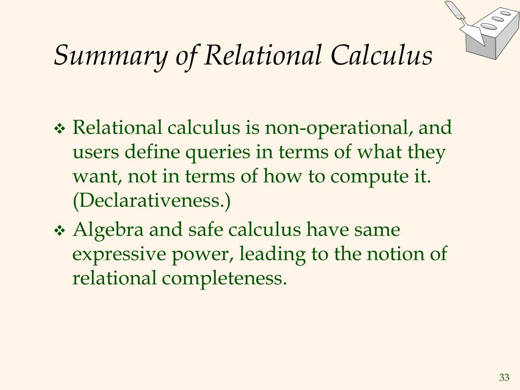 Summary of Relational Calculus