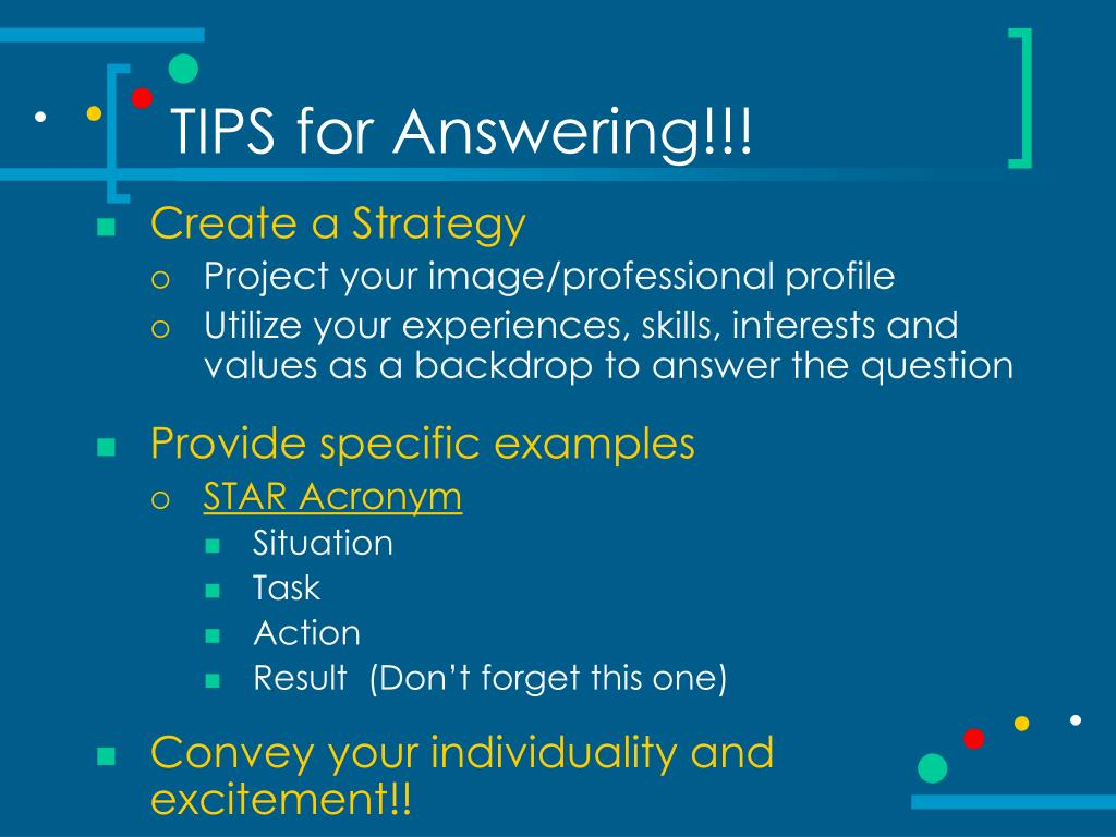 TIPS for Answering!!!