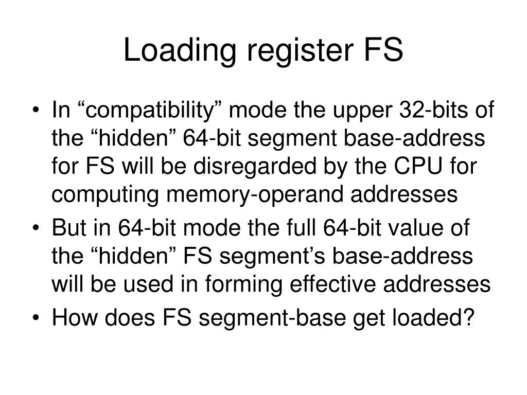 Loading register FS