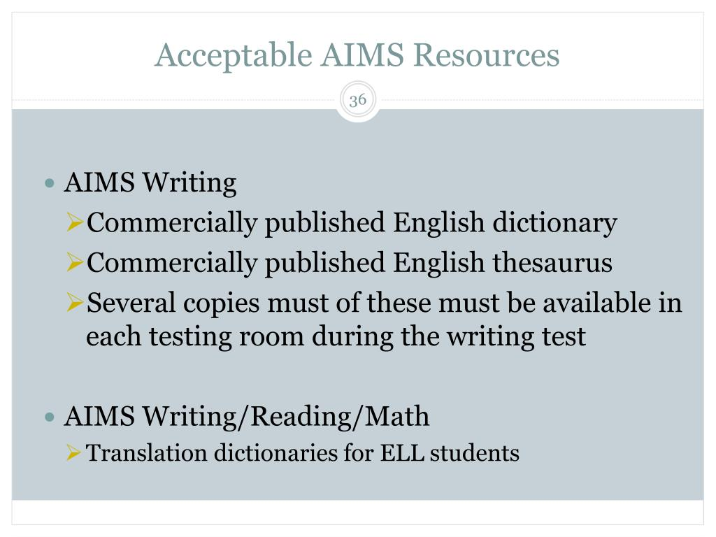 Acceptable AIMS Resources