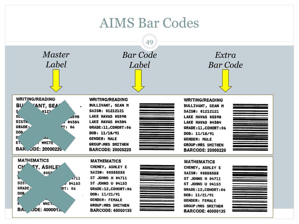 AIMS Bar Codes